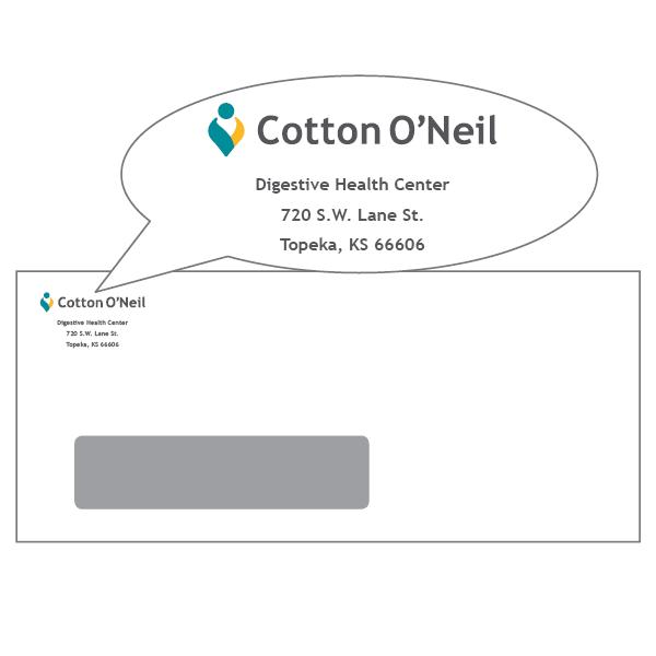 #10 left hand window envelope for Cotton O'Neil Digestive Health Center,  720 Lane
