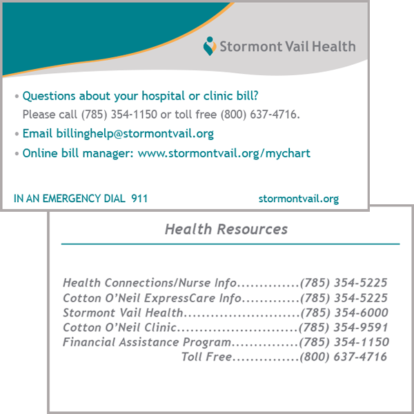Billing Questions/Health Resources Pocket Card